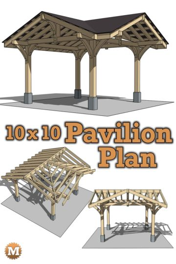 Three Gable Timber Frame Style Pavilion Plan