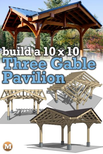 a Douglas Fir Three Gable Pavilion and several 3D model views