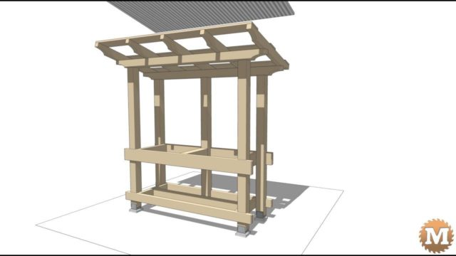 Sketchup Model of a Potting Bench with a Cast Concrete Countertop and Galvanized Corrugated Metal Roof.